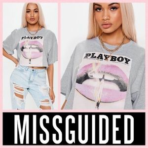 Playboy Misguided Lips Print Crop T-Shirt